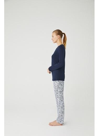 Mod Collection Kadın Gül Kurusu Patlı Pijama Takımı Lacivert